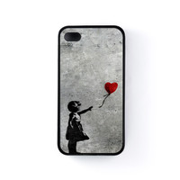 Banksy Girl with Heart Balloon Black Silicon Rubber Case for iPhone 4/4s by Banksy