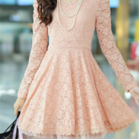 Long Sleeves Lace One Piece Dress