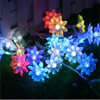 2.5m 20 Lotus Flowers Led String Garland Light Christmas New Year Wedding Holiday Party Home Luminaria Decoration Lamp Hot