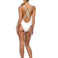 Peixoto - White Malaka  | Open Back One Piece Swimsuit