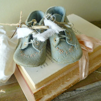 Nursery Decor. Rustic Farmhouse. Altered Art Vintage Baby Shoes Display. Baby Shower Decor. Cottage Chic. Heirloom Gift.