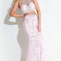 Beaded Two Piece Illusion Sweetheart Prom Dress by Rachel Allan