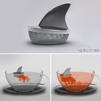 """Shark Fin """"Sharky"""" Stainless Steel Loose Tea Infuser, Gift Boxed, 1 3/4 Inch X 2 Inches"""