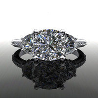 Forever Brilliant Moissanite and Diamonds Three Stone Engagement Ring 2.23 CTW