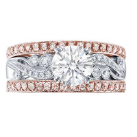 Engagement Ring - Vintage Design Engagement Ring with Bezel & Pave Set Round Diamonds & Two Matching Wedding Bands in 14K Pink Gold - ES768BSRG2WB