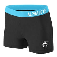 Women's Shorts - Dark Charcoal/Sky Blue