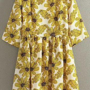 Yellow Daisy Floral Short Sleeve Dress