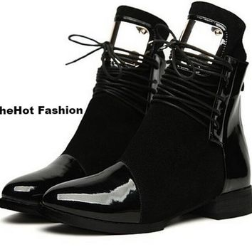 Women Casual Flat Patent Leather Lace Up Ankle Boots