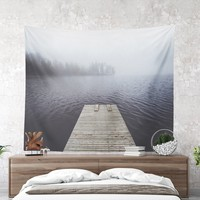 Wall Tapestry With Dreamy Lake Scenery Photography, Nature Tapestry, Large Wall Art, Wall Decor, Home Decor, Foggy, Jetty, Moody, Wanderlust