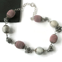 Necklace Fabric Beads Chainmaille  Mobios knots Pink Silver everyday necklace