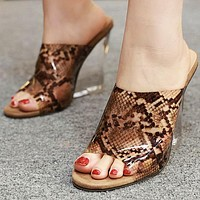Fashion Slippers Fish Mouth Slope heel Crystal Rough Super High heel Night Shoes