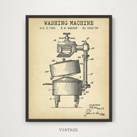 Washing Machine Patent Art, Vintage Washing Machine Print, Digital Download Blueprint Art, Laundry Room Decor, Vintage Patent Artworks