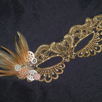 Steampunk Lace Mask in Gold with Feathers and Metal Gears