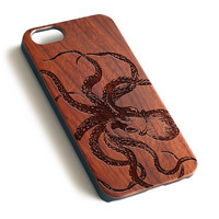 Octopus Sketch Natural wood iPhone case laser engraved iPhone case WA028