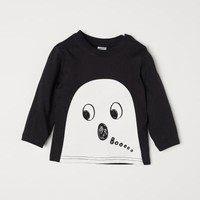 Top with Printed Design - Black/ghost - | H&M US