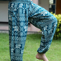 green elephant pants Harem pants nightwear baggy pants bohemin style/Aladdin Pants/Yoga pants/palazzo pants/women in yoga pants/boho pants