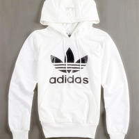 "Fashion ""Adidas"" Print Hooded Pullover Tops Sweater Sweatshirts White high quality"
