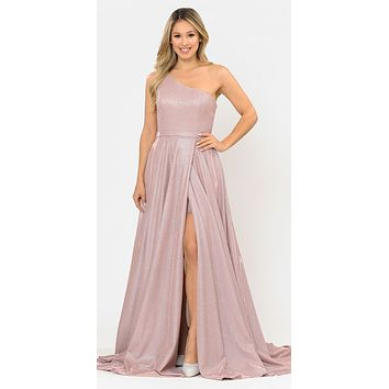Rose Gold One-Shoulder Long Prom Dress with Pockets