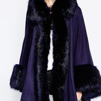 Jayley   Jayley Olivia Cape With Faux Fur Trim In Navy at ASOS