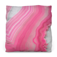 Sweet Pink Agate Throw Pillow