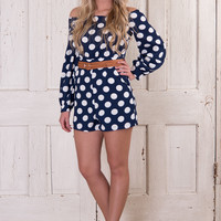 Dots Are My Favorite Romper - Navy/White