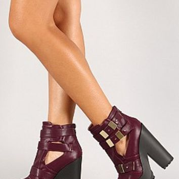 THERAPY-03-9-4 Strappy Chunky Heel Booties Women Boots BURGUNDY Bare Feet Shoes