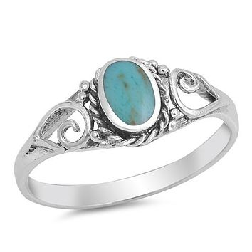 Turquoise Oval Stone Sterling Silver Ring