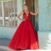 Sparkly Red Beaded Ball Gown Vintage Prom Dresses New Arrival Chic V-Neck Spaghetti Strap Crystal Sequined Evening Party Dress