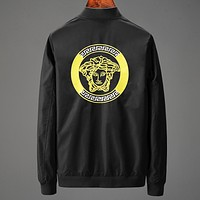 Versace New fashion back human head long sleeve coat men Black