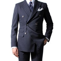 Chalk Stripe Men Suit Custom Made Navy Blue Mens Striped Suit,Tailored Double Breasted