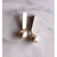 Pearl and Ivy Studio - pearl stick earrings - brushed brass
