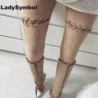 LadySymbol Sexy Women Lace Up Faux Suede Stretch Bodycon Trousers Hollow Out Spring Pencil Pants Female High Waist Bandage Pants