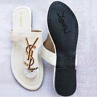 YSL Yves Saint Laurent Summer Hot Sale Women Casual Sandal Slippers Shoes White