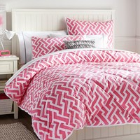 Links A Lot Comforter + Sham, Bright Pink