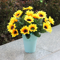 1 Bouquet Home Party Decor Display Artificial Silk Flower Simulation Sunflower Bouquet DIY artificial flowers 7 flower