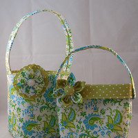 Little Girls Green and Turquoise Floral Matching Purse And Easter Basket
