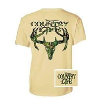 Country Life Outfitters Sand Camo Realtree Deer Skull Head Hunt Vintage Unisex Bright T Shirt