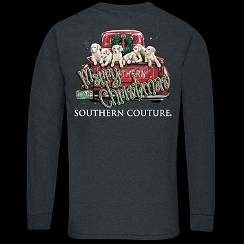 Southern Couture Classic Merry Christmas Pups Holiday Long Sleeve T-Shirt