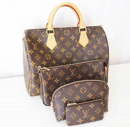 Image of LV fashion hot selling ladies casual printed four-piece one-shoulder makeup bag
