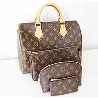 LV fashion hot selling ladies casual printed four-piece one-shoulder makeup bag