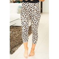Look At Me Now Ivory Leopard Print Capri Leggings