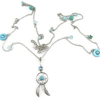Dream catcher body jewelry waist link Belly button Ring blue turquoise silver piercing Accessary 316Lmedical stainless steel navel ring nail