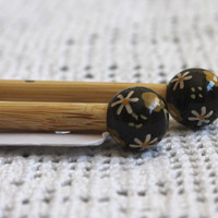 Bamboo Knitting Needles, Hand Painted, 40 cm long (15 inches apron) - 9 mm - Dark Brown