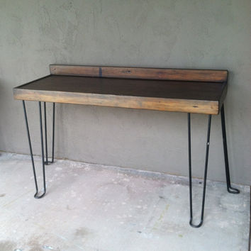 Hairpin Leg Vintage Industrial Work Bench, Sofa Table, Desk or Snack Bar