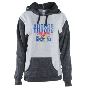 Official NCAA University of Kansas Jayhawks - 01AMDD13 Color Block Kangaroo Pocket Pullover Hoodie