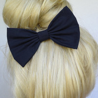 Navy Blue Hair Bow Clip Navy Hair bow Dark Blue Bow Dark Blue hair clip Big Blue Bow Big Navy Bow Bows for Hair Cute hair bows cutie cute