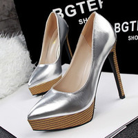 waterproof Heels women's singles Ladies Black Pumps