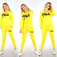 FILA Adidas Casual Print Hoodie Top Sweater Pants Trousers Set Two-piece High quality Sportswear