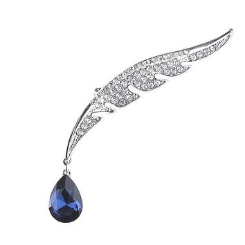 Fashion Vintage Style Feather Shape Drop Crystal Decor Brooch