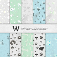 Dogs Digital Paper, rustic blue, white & green printable backgrounds, images of toys, bones, balls, labs, yorki, beagle, dachshund, bull dog